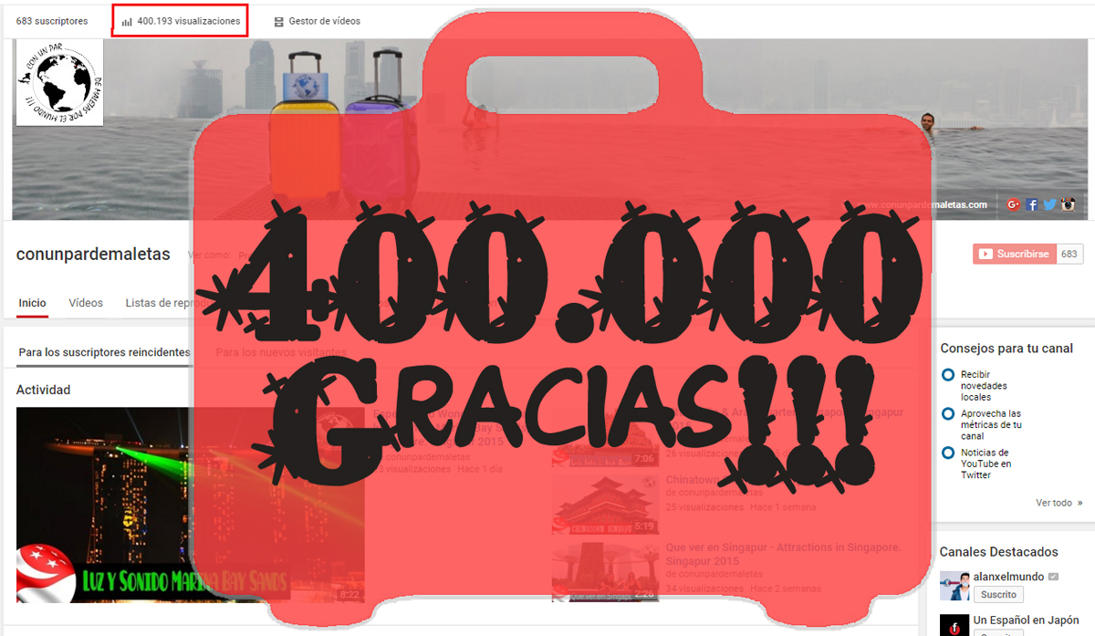 Estamos de enhorabuena!!!400.000 reproducciones!!!