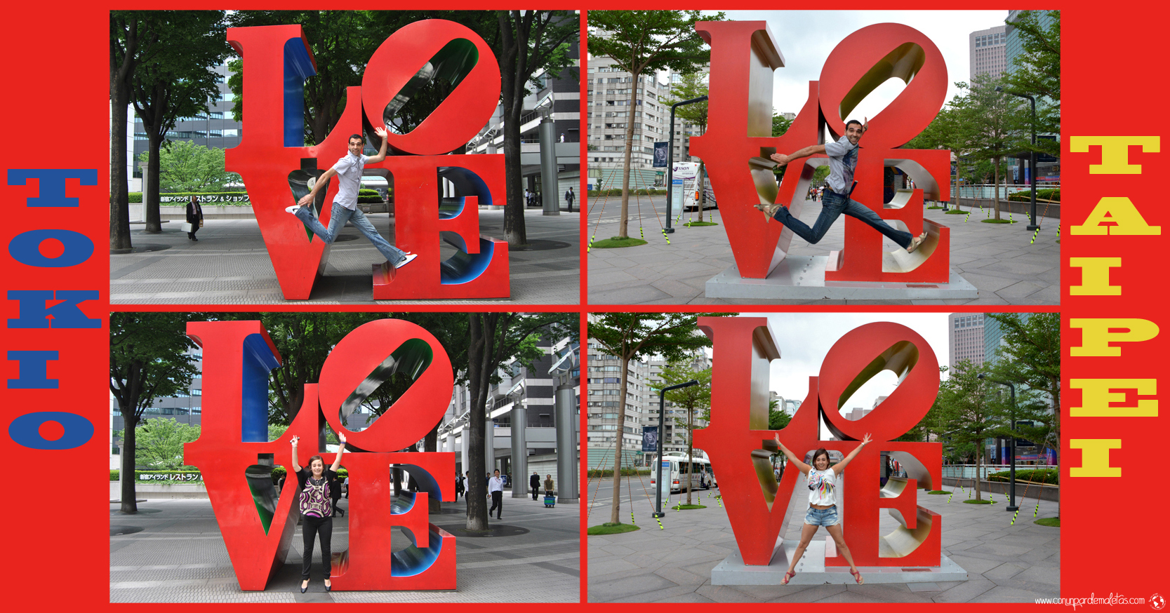 Escultura LOVE. Tokio y Taipéi